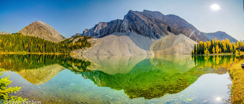 Gusty Peak [3000m] and Mount Chester [3054m] reflected in Chester Lake