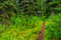 Outhouse and trail at Marvel Lake Campground