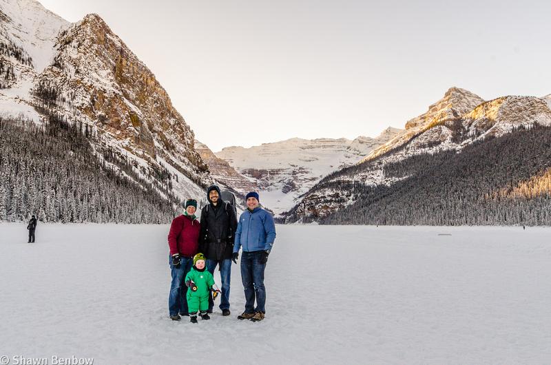 Jenn, James, Andrew, and Shawn at Lake Louise.