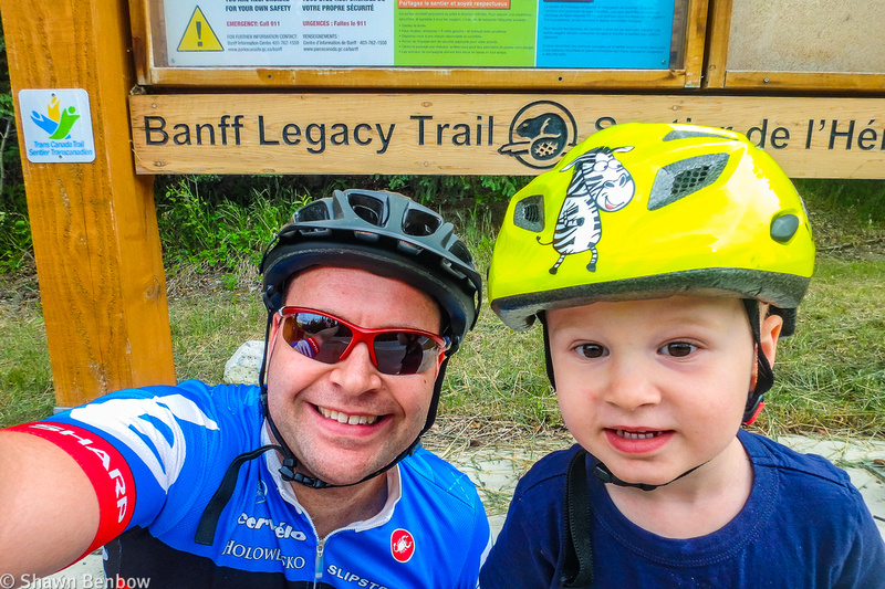 Shawn and James at the west end of the Legacy Trail on the edge of the Banff townsite.