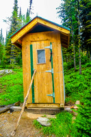 The worst of two terrible outhouses at the Floe Lake Campground.