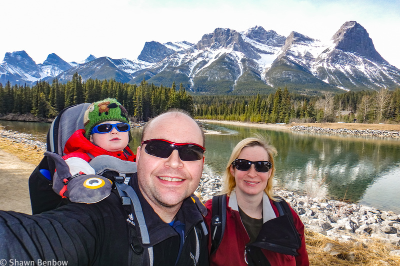 James, Shawn, and Jenn on the trail near the Bow River in Canmore.