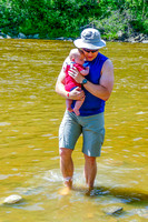 Shawn waded into the Pembina River with James.