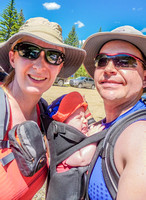 Jenn, Shawn, and James, ready to go hiking at Pembina River Provincial Park on Canada Day 2014.