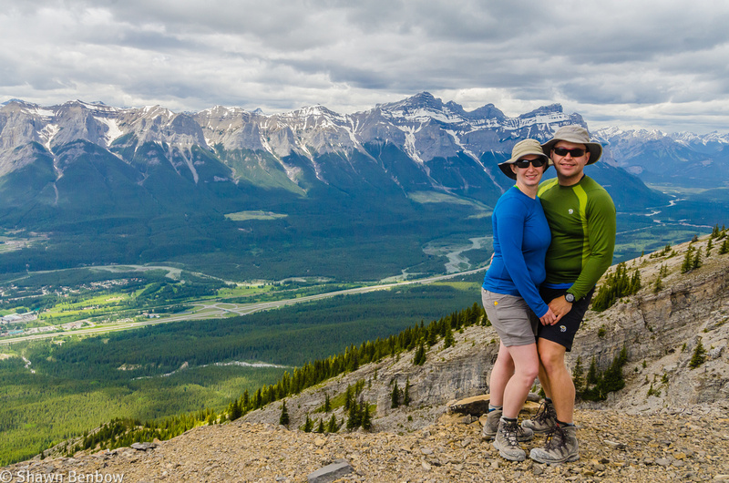 Jenn and Shawn in front of the Bow Valley and Mount Rundle, from Mount Lady Macdonald