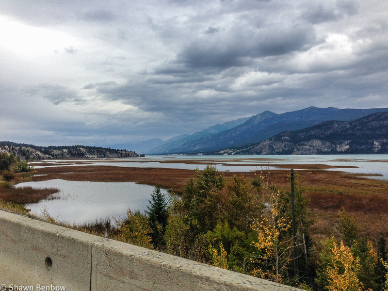 View of Columbia Lake while cycling along the highway.