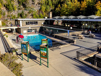 The cold pool and building at Radium Hot Springs.