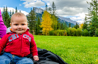 Four and a half month old Walter in front of Mount Rundle in Banff's Central Park.