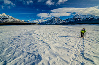 Jenn snowshoeing on the Spray Lakes Reservoir.