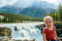 James in front of Athabasca Falls and Mount Kerkeslin.