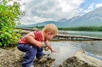 James enjoyed throwing rocks into Pyramid Lake from the shore of McKibbon Island.
