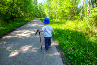 We gave James a hiking pole to walk with, and he was happy to walk along the trail.