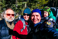 Uncle Bruce, Jenn, Shawn, and James ready to hike at Johnston Canyon.