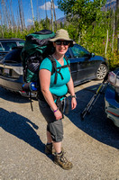 Jenn at the Floe Lake Trailhead