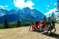 Shawn's bike and the chariot by the Red Chairs at the Mount Rundle lookout.