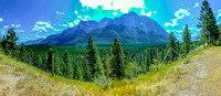 Panoramic view of Mount Rundle from the rest area long the Legacy Trail.