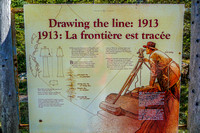 Information panel about surveying the boundary between Alberta and British Columbia.