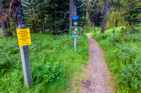 No fishing, no bicycles, and please keep pets on leash on the Warspite Lake trail.