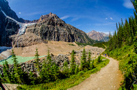 View north of the Angel Glacier on Mount Edith Cavell and the Cavell Meadows Trail.