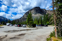 The Marble Canyon parking lot and trailhead next to Highway 93, west of Vermillion Pass.