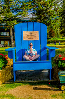 Jenn and James in the big chair at the Fairmont Hot Springs.