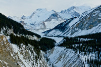 Mount Athabasca (3491m, centre) and Mount Andromeda (3450m, right) from the Sunwapta Canyon/Mount Kitchener Viewpoint
