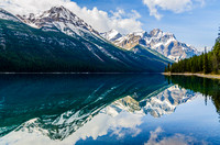 Reflection of Mount Outram [3240m] and Mount Forbes [3612m] in Glacier Lake