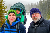 Shawn, James, and Uncle Bruce on the Hogarth Lakes snowshoe trail.