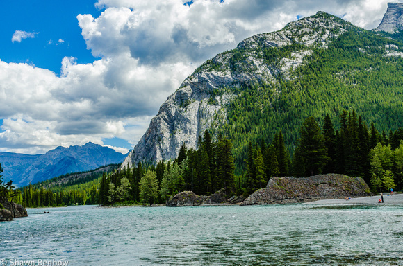 The west end of Rundle Mountain and the Bow River near Bow Falls.