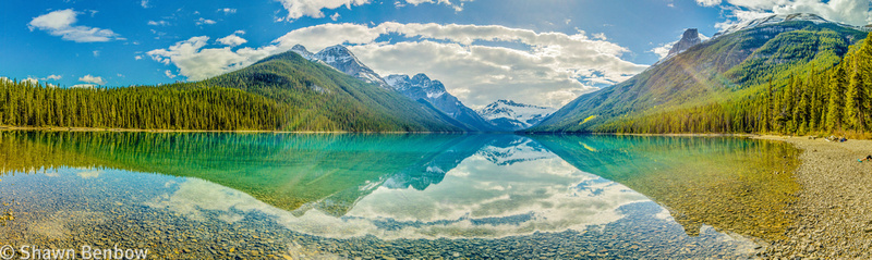 Panoramic view of Glacier Lake from the campground.