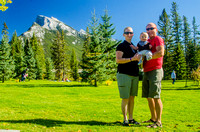 Jenn, James, and Shawn in Banff's Central Park.
