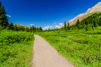 The first part of the Ptarmigan Cirque Trail follows the Highwood Meadows Interpretive Trail at Highwood Pass.