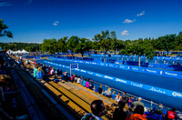 Transition and finish area at the ITU Women's Triathlon final in Hawrelak Park.